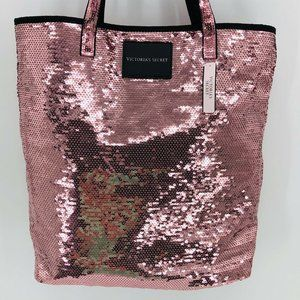 Victoria's Secret Rose Pink Sequins BLING Tote Bag